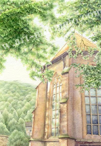 金井千絵の版画「木漏れ日のワルツ」