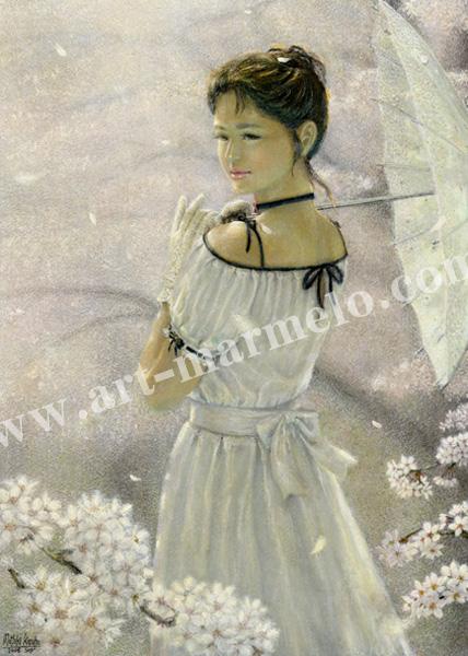万葉睦月の版画「桜雨」