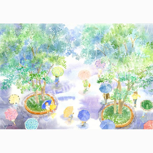 北沢優子の版画「アンブレラ」