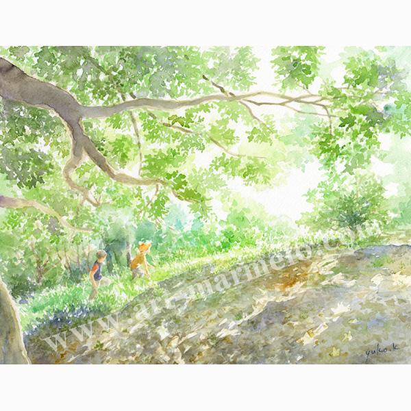 北沢優子の版画「秘密の丘」