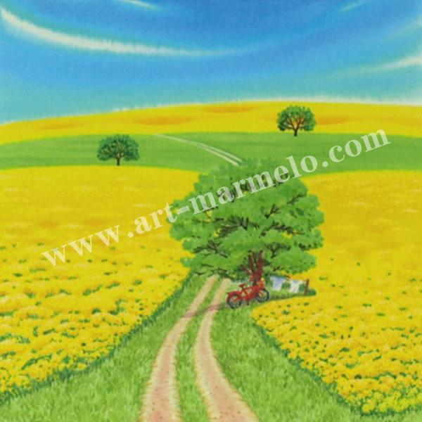 栗乃木ハルミの版画「菜の花の丘�」