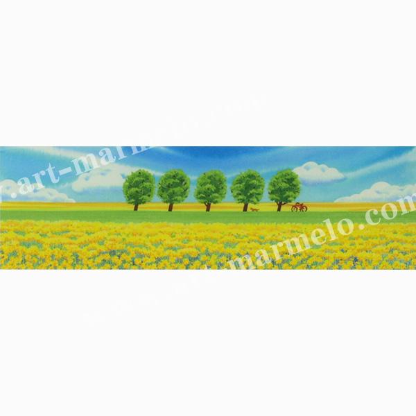栗乃木ハルミの版画「菜の花畑Ⅳ」