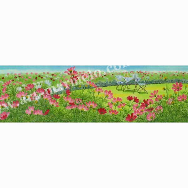 栗乃木ハルミの版画「コスモスにかこまれて」