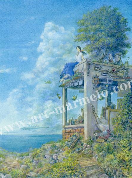 待井健一の版画「夏渡し」、版画の通販専門店アート・マルメロ
