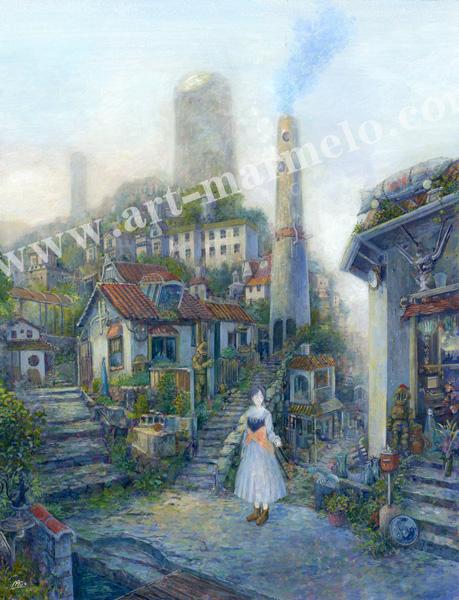 待井健一の版画「小さな旅路」、版画の通販専門店アート・マルメロ