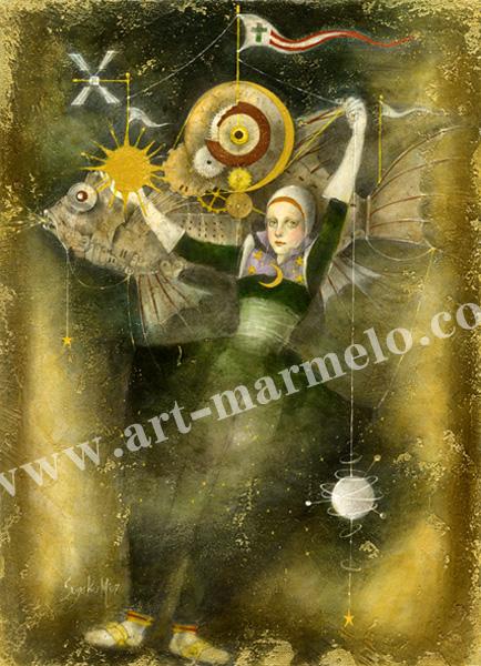 牧野鈴子の版画「飛行魚」