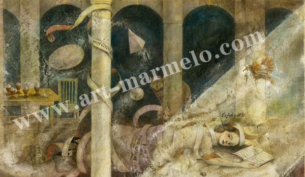 「Melancholy」牧野鈴子の版画