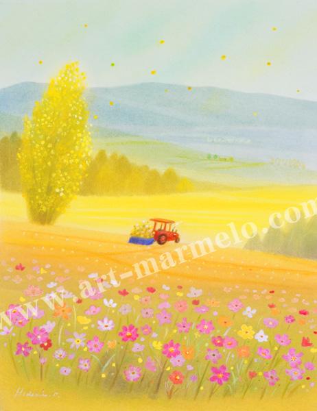 大西秀美の版画「しあわせの空に」