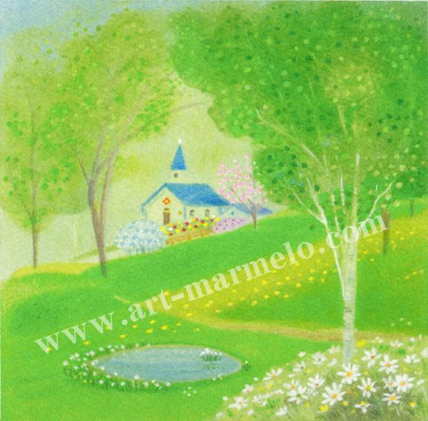 大西秀美の版画「森へのとびら」