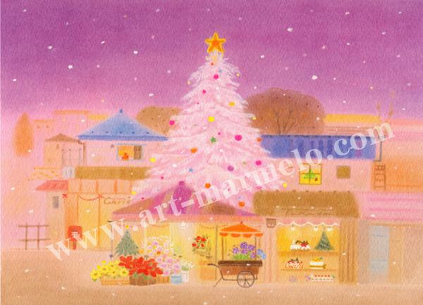 大西秀美の版画「ほほえみの街角」