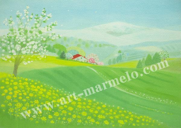 大西秀美の版画「夢みる季節」