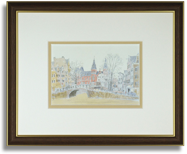 安野光雅のポストカード額装「Amsterdam」額装