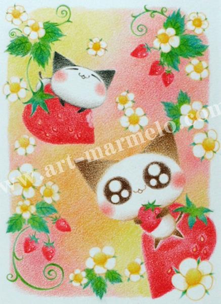 Sakuraの版画「Sweet Wild Strawberry」、版画の通販専門店アート・マルメロ