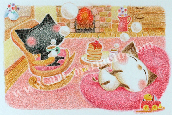 Sakuraの版画「Relaxed Time」、版画の通販専門店アート・マルメロ