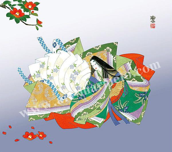 東聖観「椿寿の賀」源氏物語色紙