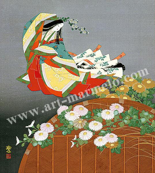 東聖観「菊の宴」源氏物語色紙