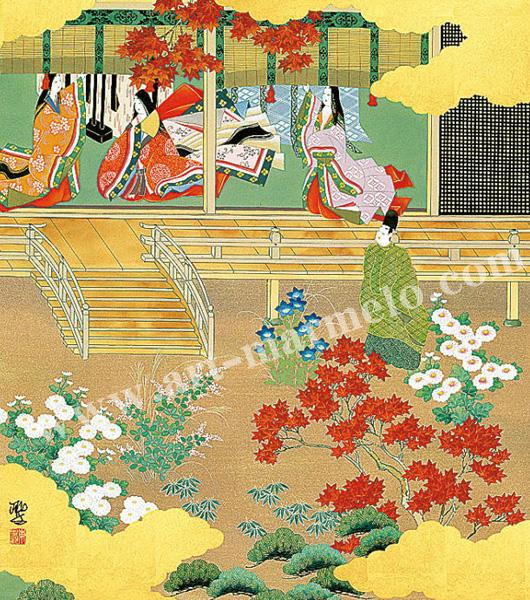 東聖観「裳着(もぎ)の名のり」源氏物語色紙