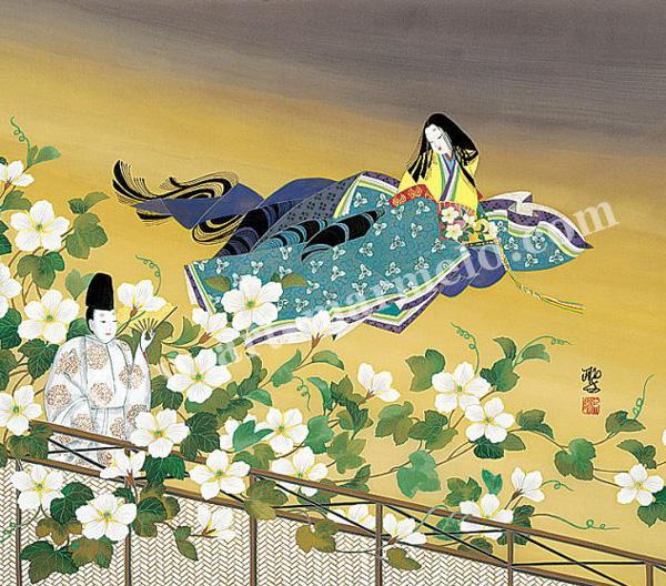 東聖観「夕顔心あてに」源氏物語色紙