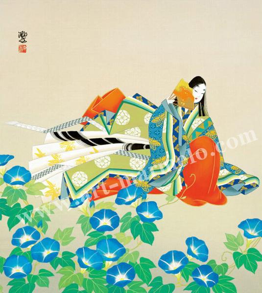 東聖観「はかなし朝顔の花」源氏物語色紙