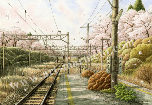 松本忠の版画「君と歩む春」