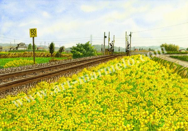 松本忠の版画「春の微笑み」