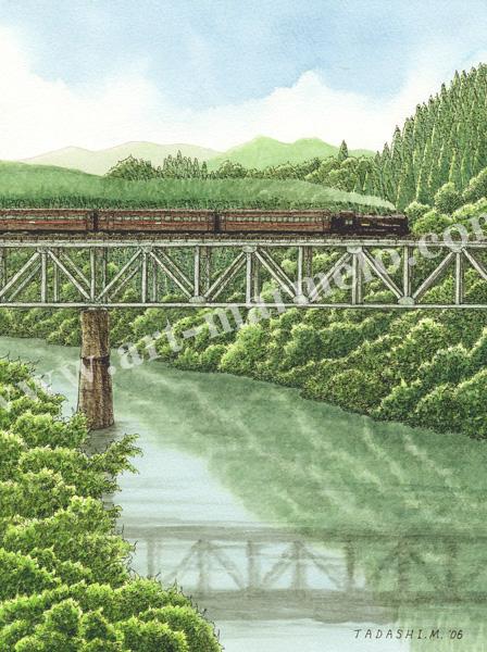 松本忠の版画「夏の汽笛がきこえる」