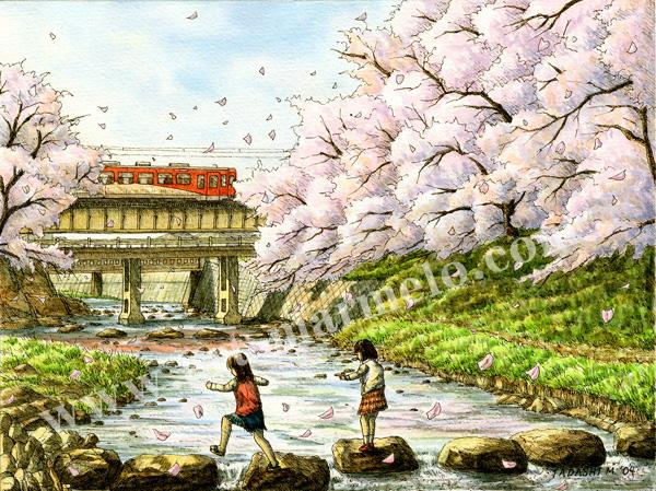 松本忠の版画「薄紅の河」