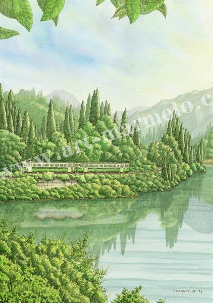 松本忠の版画「緑の揺りかご」