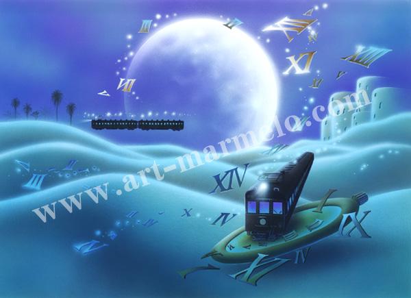 梅川紀美子の版画「砂時計」