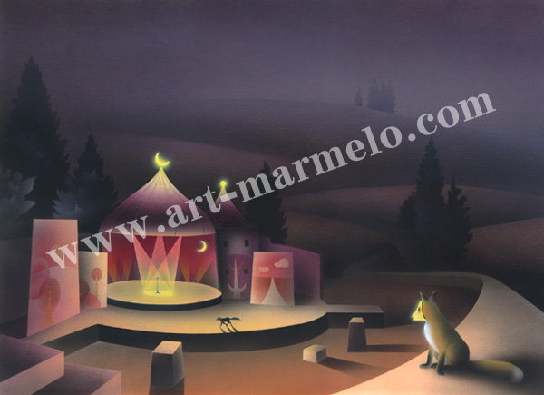 梅川紀美子の版画「ツクマンの月」