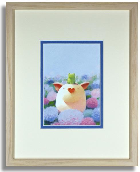 渡辺宏「雨の香りと珍しい友達」額装