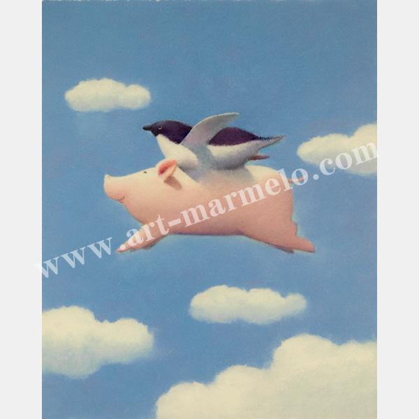 渡辺宏の版画「天使にあこがれて」