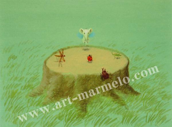 葉祥明の版画「はちぞうの森のコンサート」
