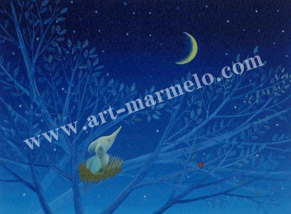 葉祥明の版画「はちぞうの森の祈り」