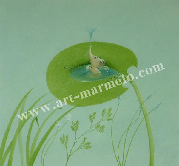 葉祥明の版画「はちぞうの水浴び」