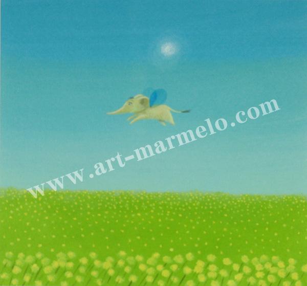 葉祥明の版画「はちぞうの野原のむこうへ」