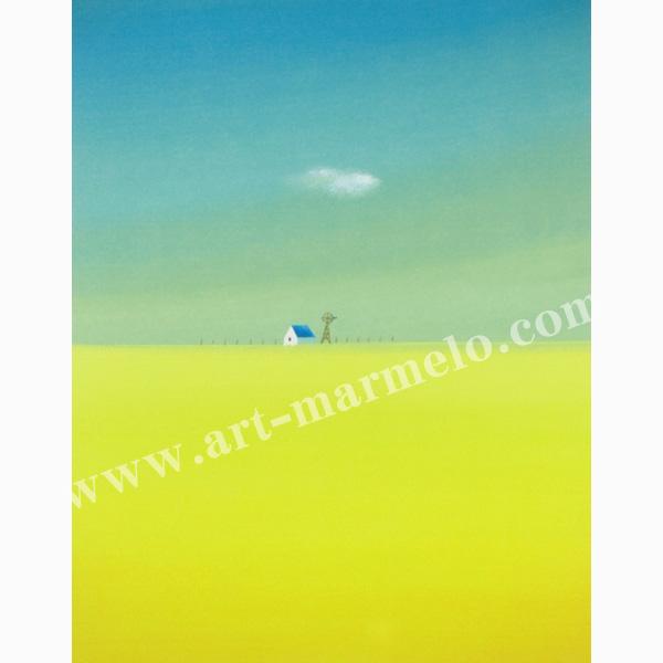 葉祥明の版画「黄色い丘」