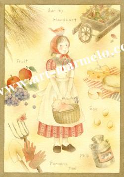 蓮田千尋の版画「Lucy's farm」