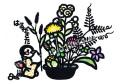 雨宮尚子の版画「春がきた」