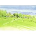 安野光雅の版画「安曇野、穂高高原」