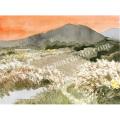安野光雅の版画「赤とんぼ、山梨県明野町」
