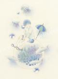 蓮田千尋の版画「遊泳」