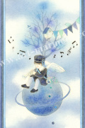蓮田千尋の版画「蒼い星」