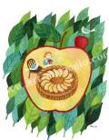 早川靖子の版画「サクサクの林檎パイ」