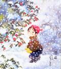 開田風童の色紙アートプリント「雪椿」