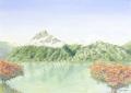 金井千絵の版画「山の神々」