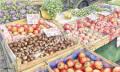 金井千絵の版画「市場はパレットNo.1」