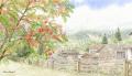 金井千絵の版画「小さき村シュプリューゲン」