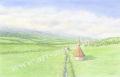 金井千絵の版画「旅立ち」