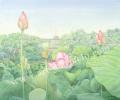 金井千絵の版画「蓮の花」